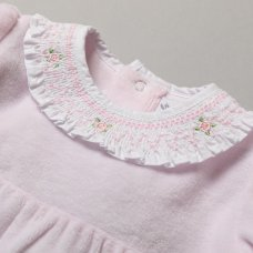 S19249: Baby Girls Velour All In One With Smocking Collar On A Satin Padded Hanger (0-9 Months)