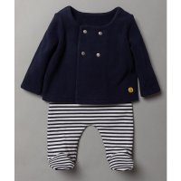S19366: Baby Navy Fleece Jacket & Stripe Trouser Outfit  (0-9 Months)