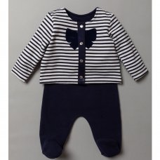S19368: Baby Stripe Jacket & Navy Trouser Outfit  (0-9 Months)