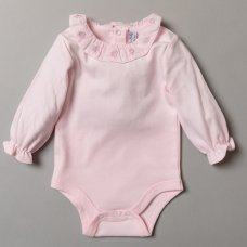 S19369: Baby Girls Quilted Jacket & Trouser With Frill Collar Bodysuit Outfit (0-9 Months)