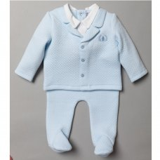 S19375: Baby Boys Quilted Mock Jacket Top & Bottom Outfit (0-9 Months)
