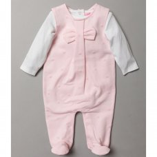 S19377: Baby Girls Flock Bow Print Dungaree & Bodysuit Outfit (0-9 Months)
