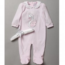 S19389: Baby Girls Swan Applique Velour All In One On A Satin Padded Hanger (0-9 Months)