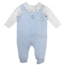 S19395: Baby Boys Flock Star Print Dungaree & Top Outfit (0-9 Months)