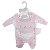 S19423: Baby Girls Floral 5 Piece Velour Gift Set (NB-6 Months)