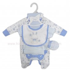 S19425: Baby Boys Bunny 5 Piece Velour Gift Set (NB-6 Months)