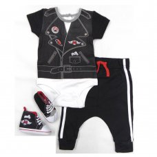 S19437:  Baby Boys Biker Bodysuit, Pant & Shoes Outfit (0-12 Months)