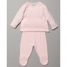 S19461: Baby Girls Textured Knitted 2 Piece Outfit (0-9 Months)
