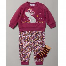 S19463: Baby Girls Mouse Quilted Top, Jog Pant & Socks Outfit  (0-9 Months)