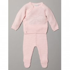 S19464: Baby Girls Bow Knitted 2 Piece Outfit (0-9 Months)