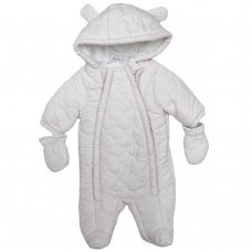 S19477: Baby Girls Pale Pink All Over Scallop, Cotton Lined, Quilted Snowsuit (0-12 Months)