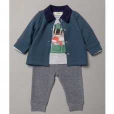 S19488: Baby Boys Quilted Jacket, Top & Jog Pant Outfit  (3-24 Months)
