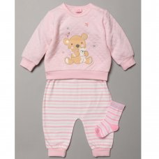 S19492: Baby Girls Bear Quilted Top, Jog Pant & Socks Outfit  (0-9 Months)