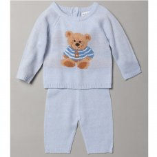 S19514: Baby Boys Bear Knitted 2 Piece Outfit (0-9 Months)