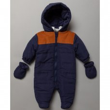 S19519: Baby Boys Snowsuit With Contrast Cord Panelling (0-12 Months)