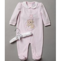 S19537: Baby Girls Bear Applique Velour All In One On A Satin Padded Hanger (0-9 Months)
