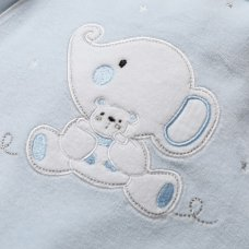 S19538: Baby Boys Elephant Applique Velour All In One On A Satin Padded Hanger (0-9 Months)