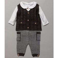 S19543: Baby Boys  Knitted 3 Piece Outfit (0-12 Months)