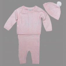 S19552: Baby Girls True Knit Cable 3 Piece Outfit (0-9 Months)