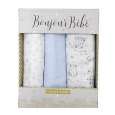 S19572: Baby Boys 3 Pack Muslin Swaddle (75 x 100 cm)