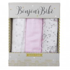 S19574: Baby Girls 3 Pack Muslin Swaddle (75 x 100 cm)