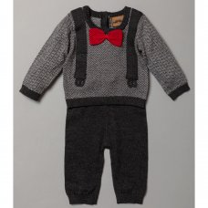 S19591: Baby Boys Mock Bow Tie & Braces Knitted 2 Piece Outfit (0-9 Months)