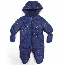 S19645: Baby Girls, All Over Print Stars, Cotton Lined, Quilted Snowsuit (0-12 Months)