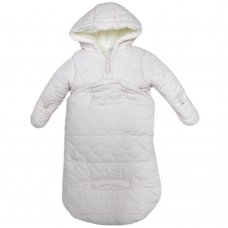 S19656: Baby Girls Pink Scallop Quilt Snowbag With Detachable Bottom & Sherpa Lining (0-12 Months)