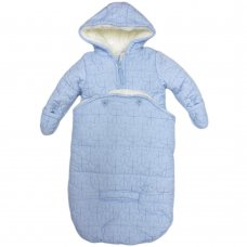 S19657: Baby Boys Blue Stars Quilt Snowbag With Detachable Bottom & Sherpa Lining (0-12 Months)