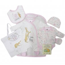 S19675: Baby Girls Guess How Much I Love You 7 Piece Mesh Bag Gift Set With Book (NB-6 Months)