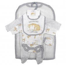 S19677: Baby Unisex Guess How Much I Love You 5 Piece Velour Gift Set (NB-6 Months)
