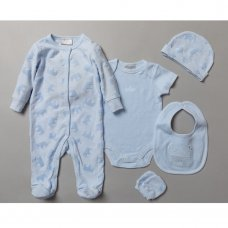 S19760: Baby Boys Little Prince Embossed 5 Piece Gift Set (NB-6 Months)