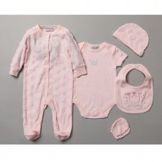 S19762: Baby Girls Little Princess Embossed 5 Piece Gift Set (NB-6 Months)