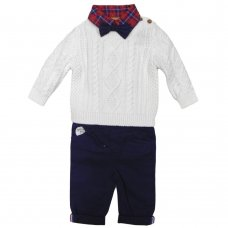 S19826: Baby Boys Knitted Jumper, Bodysuit Shirt With Bow Tie & Chino Pant Outfit (0-18 Months)