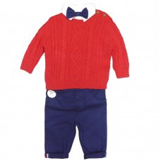 S19840: Baby Boys Knitted Jumper, Bodysuit Shirt With Bow Tie & Chino Pant Outfit (0-18 Months)