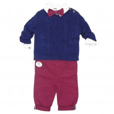 S19842: Baby Boys Knitted Jumper, Bodysuit Shirt With Bow Tie & Chino Pant Outfit (0-18 Months)