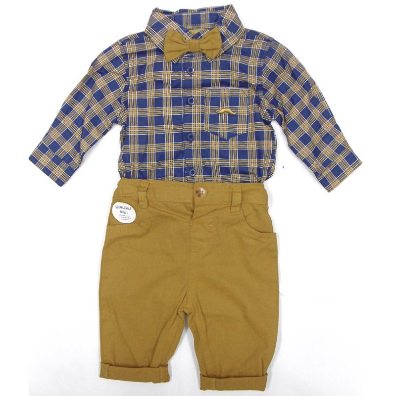 S19863: Baby Boys Bodysuit Shirt With Bow Tie & Chino Pant  Outfit (0-18 Months)