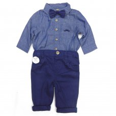 S19865: Baby Boys Bodysuit Shirt With Bow Tie & Chino Pant  Outfit (0-18 Months)