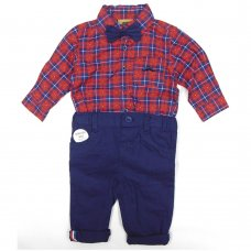 S19866: Baby Boys Bodysuit Shirt With Bow Tie & Chino Pant  Outfit (0-18 Months)