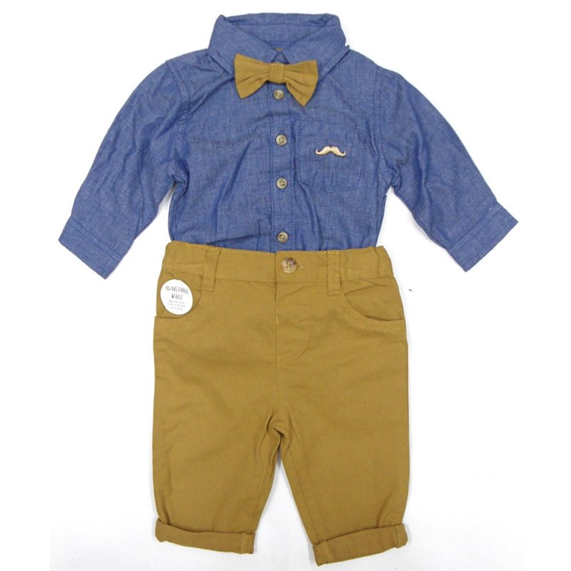 S19867: Baby Boys Bodysuit Shirt With Bow Tie & Chino Pant  Outfit (0-18 Months)