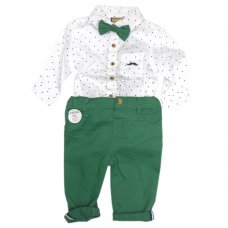 S19869: Baby Boys Bodysuit Shirt With Bow Tie & Chino Pant  Outfit (0-18 Months)