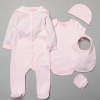 S19987: Baby Plain Pink 5 Piece Mesh Bag Gift Set (NB-6 Months)