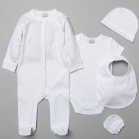 S19988: Baby Plain White 5 Piece Mesh Bag Gift Set (NB-6 Months)