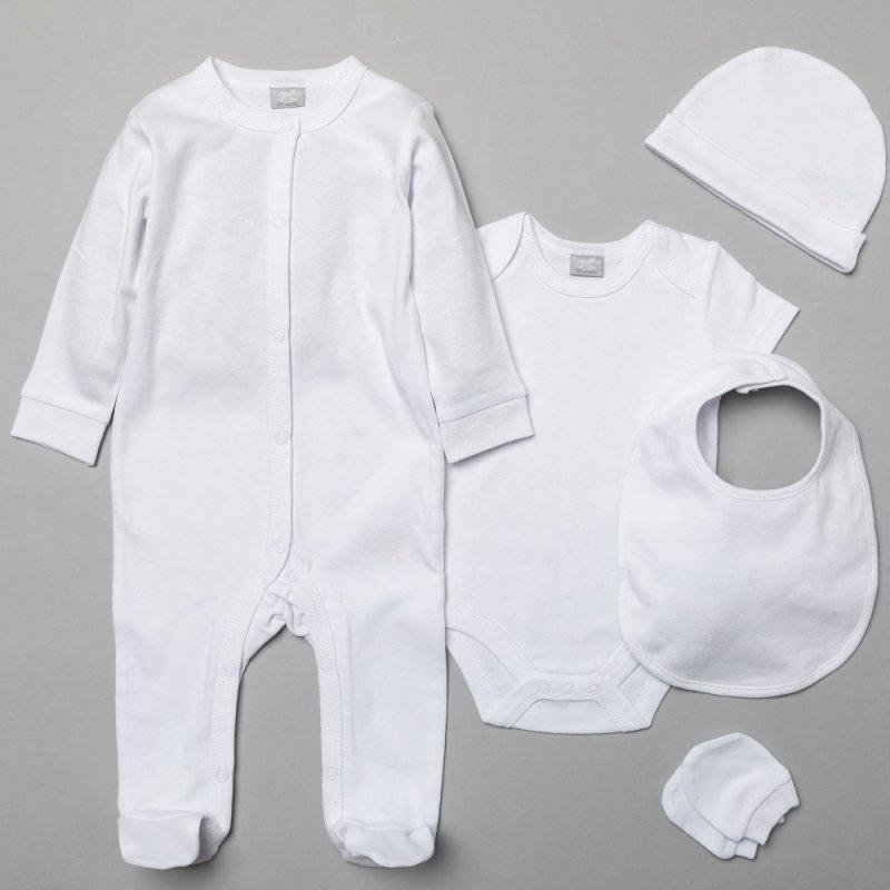 S19988: Baby Plain White 5 Piece Mesh Bag Gift Set (NB-6 Months)
