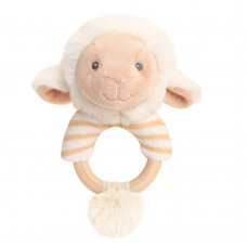 SE6729: 14cm Keeleco Lullaby Lamb Ring Rattle (100% Recycled)