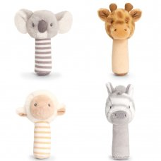 SE6903: 14cm Keeleco Assorted Stick Rattles-4 Designs (100% Recycled)