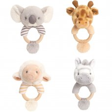 SE6904: 14cm Keeleco Assorted Ring Rattles-4 Designs (100% Recycled)