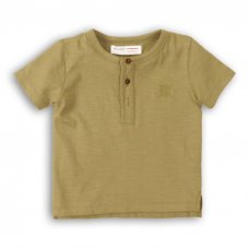 1HENLEY 6P: Boys Khaki Slub Henley Top (3-8 Years)