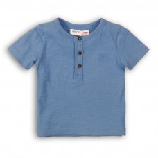 1HENLEY 8P: Boys Denim Blue Slub Henley Top (3-8 Years)
