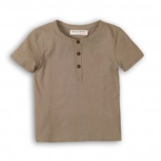 1HENLEY 9: Boys Grey Slub Henley Top (9 Months-3 Years)